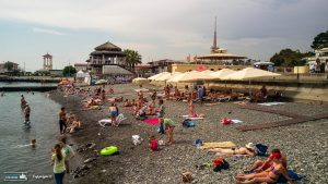 More pebbly beach in downtown Sochi